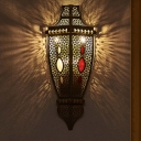 Hollow Restaurant Wall Sconce Lamp Arab Metal 1 Light Black Wall Lighting Fixture