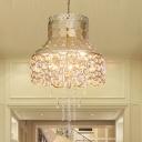Hollow Metal Hanging Chandelier Antique 3 Lights Study Room Ceiling Light in Brass
