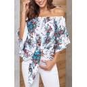 Pretty Sexy Women's Bell Sleeve Off the Shoulder All Over Floral Printed Tied Hem Loose Fit Shirt