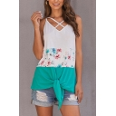 Gorgeous Ladies' Sleeveless Hollow Out Front Floral Printed Colorblock Tie Hem Loose Tank Top in Green