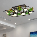 Black 5/8 Bulbs Ceiling Fixture Industrial Metal Square/Rectangle LED Plant Semi Flush Mount Light for Living Room