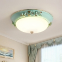 Dome Bedroom Ceiling Lighting Countryside Metal 1 Bulb White LED Flush Mount Light Fixture, 12