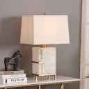 Contemporary Trapezoid Table Lamp Fabric 1 Bulb Task Light in White with Marble Base
