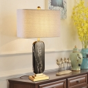 Shaded Fabric Nightstand Lamp Modern 1 Head Black Reading Book Light for Living Room