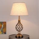 Gold Wide Flare Table Lamp Modernist 1 Head Fabric Desk Light with Gourd Metal Base