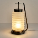 Lantern Table Light Modernism Opal Glass 1 Bulb Black Small Desk Lamp with Metal Base