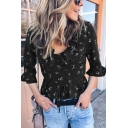 Amazing Women's Three-Quarter Sleeves Round Neck All Over Floral Printed Tied Waist Ruffle Trim Fitted Shirt