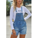 Women's High Waist Bleach Rolled Cuffs Skinny Fit Suspender Denim Shorts