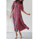 Chic Fashion Women's Short Sleeve Lapel Collar Button Down Pockets Slit Front Striped Maxi A-Line Shirt Dress