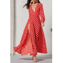 Boutique Women's Long Sleeve Deep V-Neck Polka Dot Print Slit Side Maxi Flowy Dress