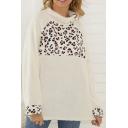 Fashionable Women's Long Sleeve Mock Neck Leopard Panel Fluffy Loose Fit Pullover Sweatshirt
