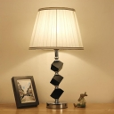 Modern Geometric Desk Light Cut Crystal 1 Bulb Table Lamp in White with Fabric Shade