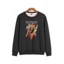 Leisure Thickened Men's Long Sleeve Crew Neck HEARTBREAKERS Letter Printed Relaxed Fit Pullover Sweatshirt