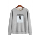 Classic Guys' Long Sleeve Crew Neck Letter GET YOUR OWN WAY Cartoon Printed Sherpa Liner Relaxed Sweatshirt