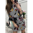 Pretty Fashion Women's Long Sleeve Round Neck All Over Flower Printed Drawstring Waist Short A-Line Dress