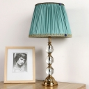 Contemporary 1 Head Task Lighting Green Wide Flare Small Desk Lamp with Fabric Shade