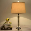 White Cylinder Desk Lamp Modern 1 Bulb Clear Crystal Table Light with Fabric Shade