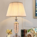 1 Bulb Bedside Reading Light Modernist Beige Nightstand Lamp with Cone Fabric Shade