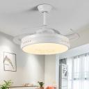 Black/White LED Ceiling Fan Lighting Modern Metal Drum 3-Blade Semi Flush Lamp Fixture over Dining Table, 42
