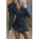 Amazing Women's Black Puff Sleeves V-Neck Metallic Stripe Print Ruffled Trim Mini Tight Club Dress