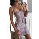 Pretty Women's Sleeveless Bow Tie Front Cut Out Striped Mini Sheath Cami Dress