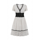 Pretty Girls Short Sleeve V-Neck Lace Colorblocked Contrast Piped Long Pleated A-Line Dress in White
