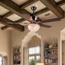 5-Blade Dome Crystal Hanging Fan Light Traditional Living Room LED Semi Flush Mount Lamp in Dark Brown, 52