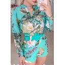 Stylish Women's Long Sleeve Stand Collar All Over Floral Printed Buckle Belted Button Down Fitted Jumpsuit Shorts
