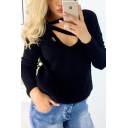 Trendy Ladies Long Sleeve V-Neck Hollow Out Solid Color Knit Tee Top