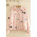 Chic Street Long Sleeve Lapel Collar Button Down All Over Cartoon Animal Printed Drawstring Loose Shirt in Pink