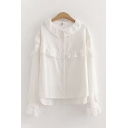 Cute Girls' White Long Sleeve Peter Pan Collar Button Down Ruffled Trim Relaxed Shirt