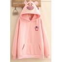 Popular Girls' Long Sleeve Bear Embroidered Pouch Pocket Longline Oversize Bear Ears Hoodie