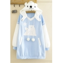 Fashionable Women's Long Sleeve Drawstring Pom Pom Bear Graphic Color Block Relaxed Long Bear Ear Hoodie in Blue