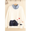 Fashion Girls' Long Sleeve Lapel Collar Cat Pattern Fake Two-Piece Relaxed Fit Pullover Sweatshirt