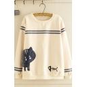 Preppy Girls' Long Sleeve Round Neck Cat Fishbone Printed Varsity Stripe Sherpa Liner Loose Pullover Sweatshirt