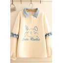 Pretty Girls Long Sleeve Lapel Neck Button Detail Stringy Selvedge Letter CUTE RABBIT Rabbit Graphic Oversize Sweatshirt