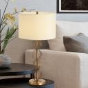 1 Bulb Study Task Lighting Modern White Reading Book Light with Drum Fabric Shade