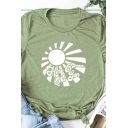 Army Green Popular Short Sleeve Crew Neck HERE GAMES THE SUN Letter Sun Print Fitted Graphic Tee for Girls
