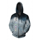 Mens Trendy Long Sleeve Drawstring 3D Witcher Game Cosplay Printed Zip Up Loose Costume Hoodie in White