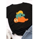 Fashionable Girls Roll-Up Sleeve Crew Neck Sloth Koala Cat Patterned Relaxed T Shirt