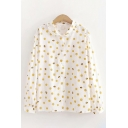Lovely Womens Long Sleeve Lapel Neck All Over Smiling Face Printed Button Down Loose Fit Shirt in White