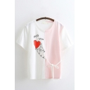 Preppy Girls Short Sleeve Round Neck Letter MISS YOU Heart Cat Graphic Bow Tie Colorblock Relaxed Fit T Shirt