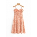 Beach Girls Sleeveless Bow Tie All-Over Floral Print Long A-Line Cami Dress in Orange