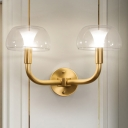 1/2 Bulbs Dome Wall Sconce Traditional Brass Metal Wall Light with Clear Glass Shade for Bedroom