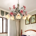 Green Floral Chandelier Lamp Pastoral Metal 5/8 Heads Living Room Ceiling Pendant Light