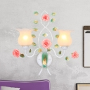 Country Style Bloom Sconce Light 1/2 Bulbs Metal Wall Lighting in White for Living Room