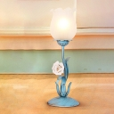 Pastoral Flower Nightstand Lamp 1 Light Metal Night Table Lighting in Blue/Pink for Study Room