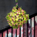 Black 1-Light Drop Lamp Retro Metal Geometric LED Flower Suspension Light for Restaurant