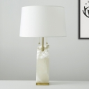 Tapered Drum Task Lighting Modernism Fabric 1 Head Small Desk Lamp in White with Pull Chain