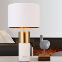 1 Head Living Room Desk Lamp Modern White Task Light with Cylindrical Fabric Shade